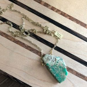 Raw Jasper Sea Sediment  & Gold Plated Necklace